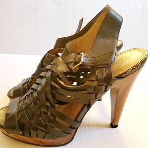 Jessica Simpson Shoes - Jessica Simpson strappy wood grain heels